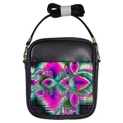 Crystal Flower Garden, Abstract Teal Violet Girl s Sling Bag by DianeClancy