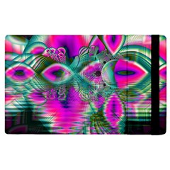 Crystal Flower Garden, Abstract Teal Violet Apple Ipad 2 Flip Case by DianeClancy
