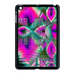 Crystal Flower Garden, Abstract Teal Violet Apple Ipad Mini Case (black) by DianeClancy