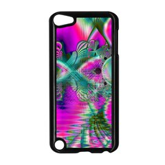 Crystal Flower Garden, Abstract Teal Violet Apple Ipod Touch 5 Case (black) by DianeClancy