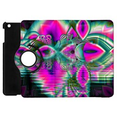 Crystal Flower Garden, Abstract Teal Violet Apple Ipad Mini Flip 360 Case by DianeClancy
