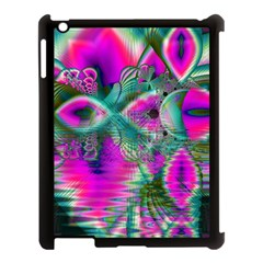 Crystal Flower Garden, Abstract Teal Violet Apple Ipad 3/4 Case (black) by DianeClancy