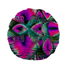 Crystal Flower Garden, Abstract Teal Violet 15  Premium Round Cushion  by DianeClancy