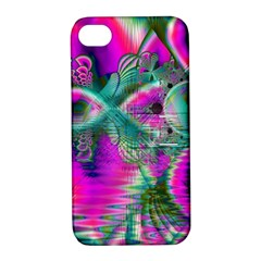 Crystal Flower Garden, Abstract Teal Violet Apple Iphone 4/4s Hardshell Case With Stand by DianeClancy