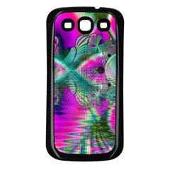 Crystal Flower Garden, Abstract Teal Violet Samsung Galaxy S3 Back Case (black) by DianeClancy