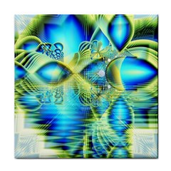 Crystal Lime Turquoise Heart Of Love, Abstract Ceramic Tile by DianeClancy