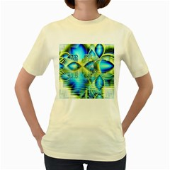 Crystal Lime Turquoise Heart Of Love, Abstract Women s T Shirt (yellow) by DianeClancy