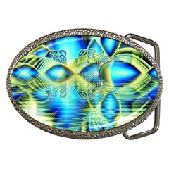 Crystal Lime Turquoise Heart Of Love, Abstract Belt Buckle (oval) by DianeClancy
