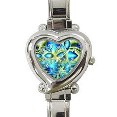 Crystal Lime Turquoise Heart Of Love, Abstract Heart Italian Charm Watch  by DianeClancy