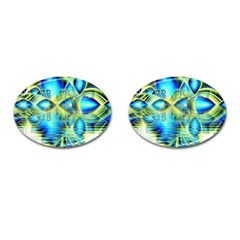 Crystal Lime Turquoise Heart Of Love, Abstract Cufflinks (oval) by DianeClancy