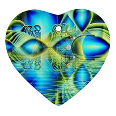Crystal Lime Turquoise Heart Of Love, Abstract Heart Ornament (two Sides) by DianeClancy