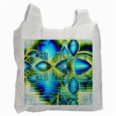 Crystal Lime Turquoise Heart Of Love, Abstract White Reusable Bag (two Sides) by DianeClancy