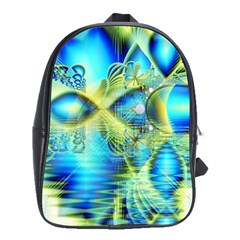 Crystal Lime Turquoise Heart Of Love, Abstract School Bag (large) by DianeClancy