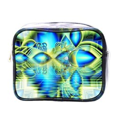 Crystal Lime Turquoise Heart Of Love, Abstract Mini Travel Toiletry Bag (one Side) by DianeClancy