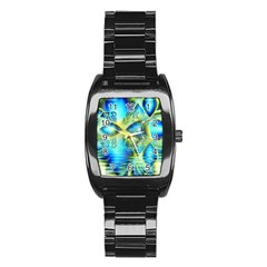 Crystal Lime Turquoise Heart Of Love, Abstract Stainless Steel Barrel Watch