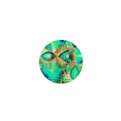 Golden Teal Peacock, Abstract Copper Crystal 1  Mini Button by DianeClancy