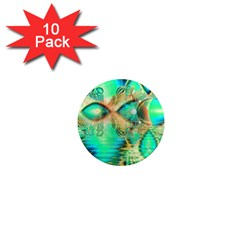Golden Teal Peacock, Abstract Copper Crystal 1  Mini Button Magnet (10 Pack) by DianeClancy