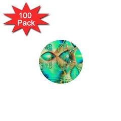 Golden Teal Peacock, Abstract Copper Crystal 1  Mini Button (100 Pack) by DianeClancy