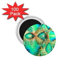 Golden Teal Peacock, Abstract Copper Crystal 1 75  Button Magnet (100 Pack) by DianeClancy