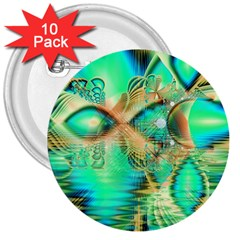Golden Teal Peacock, Abstract Copper Crystal 3  Button (10 pack)
