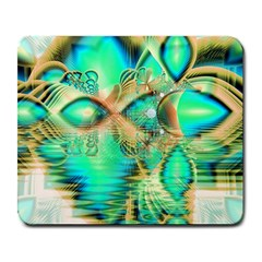Golden Teal Peacock, Abstract Copper Crystal Large Mouse Pad (rectangle) by DianeClancy