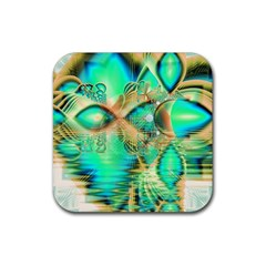 Golden Teal Peacock, Abstract Copper Crystal Drink Coaster (square) by DianeClancy