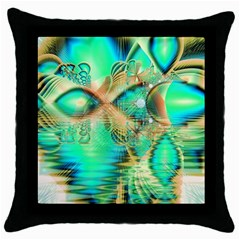 Golden Teal Peacock, Abstract Copper Crystal Black Throw Pillow Case by DianeClancy