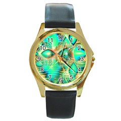 Golden Teal Peacock, Abstract Copper Crystal Round Leather Watch (gold Rim)  by DianeClancy