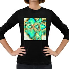 Golden Teal Peacock, Abstract Copper Crystal Women s Long Sleeve T Shirt (dark Colored) by DianeClancy