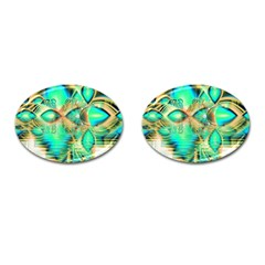 Golden Teal Peacock, Abstract Copper Crystal Cufflinks (oval) by DianeClancy