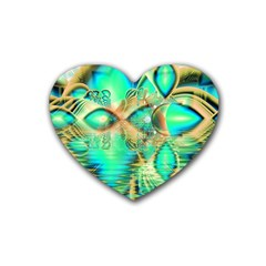 Golden Teal Peacock, Abstract Copper Crystal Drink Coasters (heart) by DianeClancy