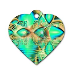 Golden Teal Peacock, Abstract Copper Crystal Dog Tag Heart (two Sided) by DianeClancy