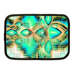 Golden Teal Peacock, Abstract Copper Crystal Netbook Sleeve (medium) by DianeClancy