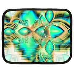 Golden Teal Peacock, Abstract Copper Crystal Netbook Sleeve (large) by DianeClancy