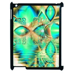 Golden Teal Peacock, Abstract Copper Crystal Apple Ipad 2 Case (black) by DianeClancy