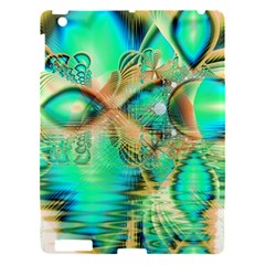 Golden Teal Peacock, Abstract Copper Crystal Apple Ipad 3/4 Hardshell Case by DianeClancy