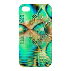 Golden Teal Peacock, Abstract Copper Crystal Apple Iphone 4/4s Premium Hardshell Case by DianeClancy