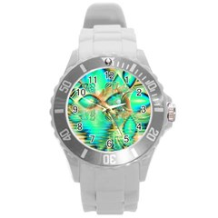 Golden Teal Peacock, Abstract Copper Crystal Plastic Sport Watch (large) by DianeClancy