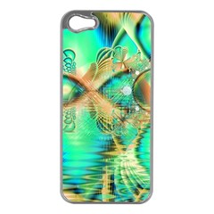 Golden Teal Peacock, Abstract Copper Crystal Apple Iphone 5 Case (silver) by DianeClancy