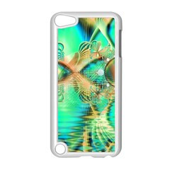 Golden Teal Peacock, Abstract Copper Crystal Apple Ipod Touch 5 Case (white) by DianeClancy