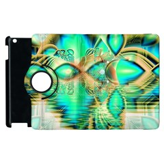 Golden Teal Peacock, Abstract Copper Crystal Apple Ipad 2 Flip 360 Case by DianeClancy