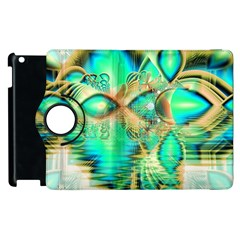 Golden Teal Peacock, Abstract Copper Crystal Apple Ipad 3/4 Flip 360 Case by DianeClancy