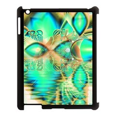 Golden Teal Peacock, Abstract Copper Crystal Apple Ipad 3/4 Case (black) by DianeClancy