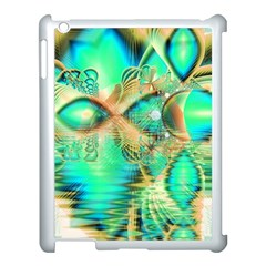 Golden Teal Peacock, Abstract Copper Crystal Apple Ipad 3/4 Case (white) by DianeClancy