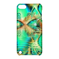 Golden Teal Peacock, Abstract Copper Crystal Apple Ipod Touch 5 Hardshell Case With Stand by DianeClancy