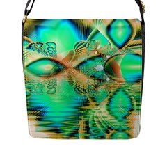 Golden Teal Peacock, Abstract Copper Crystal Flap Closure Messenger Bag (large) by DianeClancy