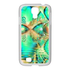 Golden Teal Peacock, Abstract Copper Crystal Samsung Galaxy S4 I9500/ I9505 Case (white) by DianeClancy