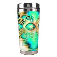 Golden Teal Peacock, Abstract Copper Crystal Stainless Steel Travel Tumbler by DianeClancy