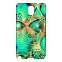 Golden Teal Peacock, Abstract Copper Crystal Samsung Galaxy Note 3 N9005 Hardshell Case by DianeClancy