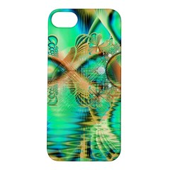 Golden Teal Peacock, Abstract Copper Crystal Apple Iphone 5s Hardshell Case by DianeClancy